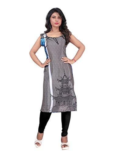 PARISHA Grey & Black Printed Semi-Stitched Kurti LE11505_XL
