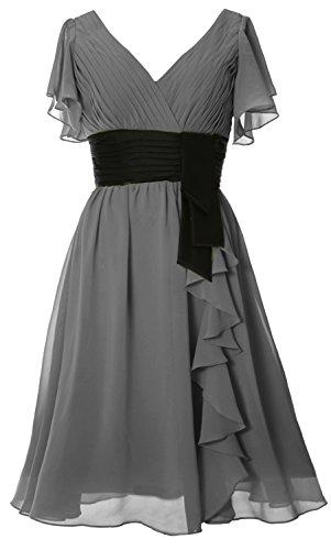 MACloth Elegant Short Sleeve Mother of Bride Dress V Neck Cocktail Formal Gown gray