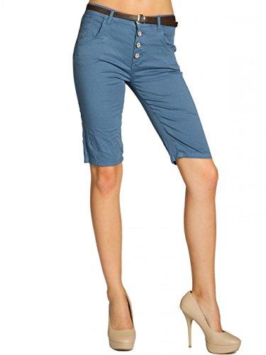 CASPAR BST005 Bermuda chino en coton pour femme bleu jeans