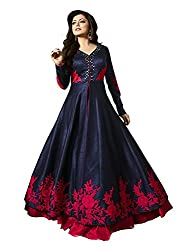 Girls Gown ( GM_61_Navy Blue_Semi Stitched ) Free Size
