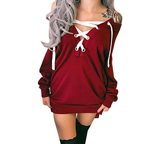 Sannysis Damen Langarm Minikleid aus Strick Pullover Kleid Bodycon Langarm Kleid Damen Partei Abend Minikleid (M, Rot) (Halter Knit Top Muster)