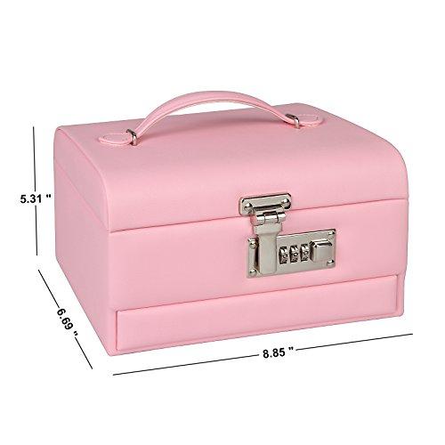 TSSS 3-Code Zahlenschloss Schmuckkasten mit Spiegel Damen Mädchen Abschließbar Schmuckkoffer Pink Kunstleder Schmuckkästchen Schmucklade Boxen - 6