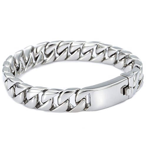 TrendsmaxMen Chain Boys 316L Stainless Steel Bracelet Smooth Curb Cuban Link, 11mm Silver Tone