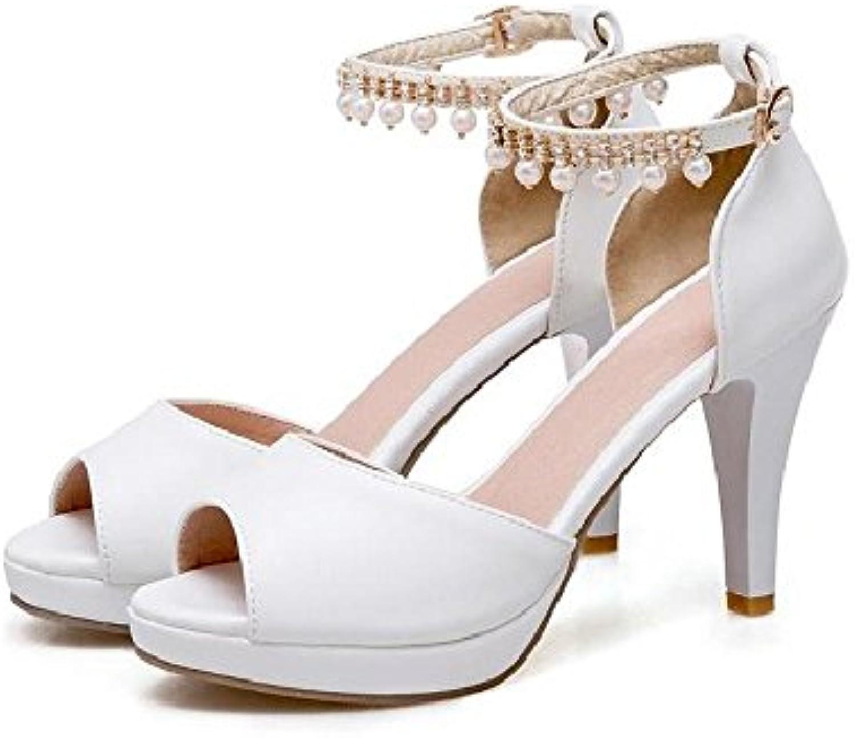 Sandalias Sandalias de Verano de la Mujer Hueca Simple de la PU Zapatos Casuales Zapatillas de Calle Cerrojo Medio... -