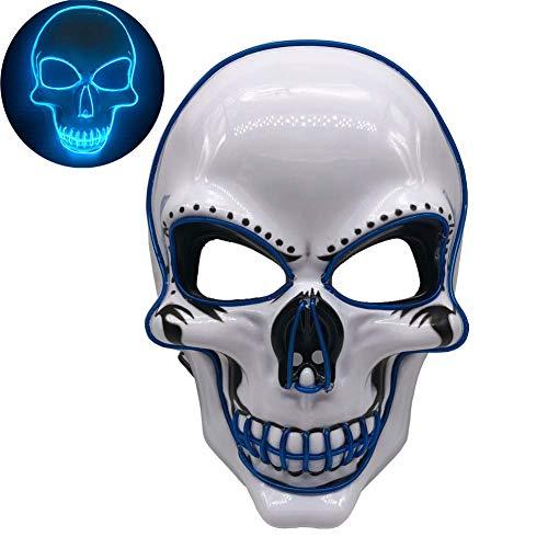Und Kostüm Blues Rhythmus - ZHAOHE Halloween Skeleton LED Maske Glow Scary Grimace Cosplay Masken für Halloween Rave Party Glow Mask Kostüm