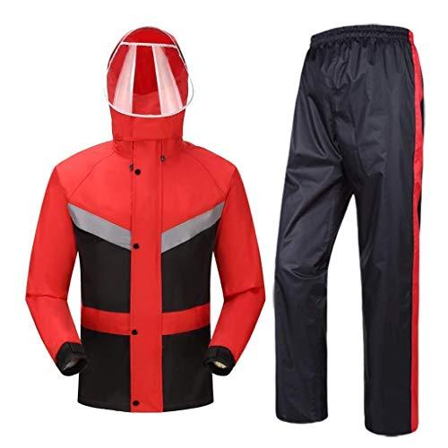 YDS SHOP Wasserdichtes 2-teiliges Set for Männer und Frauen (Regenmantel + Hose), ultraleichter Anzug/Windschutz/Brustreflexstreifen, geeignet for Arbeiten im Freien (Size : XXL) -