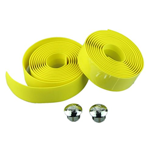 kingkor-cycling-handle-belt-bike-bicycle-cork-handlebar-tape-wrap-2-bar-plug-yellow