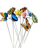 HomeTools.eu - 10 Stück DEKO Schmetterlinge - Bunt Gemischt | Garten Balkon Blumentopf Blumenkasten Blumenstrauß Stecker | Schmetterlinge flattern im Wind
