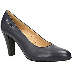 ZWEIGUT® -Hamburg- smuck #215 Damen Leder Pumps Nappaleder Sommer Business Schuhe Komfort Laufsohle, Schuhgröße:38, Farbe:nachtblau