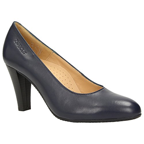 ZWEIGUT Hamburg- Smuck #215 Damen Leder Pumps Nappaleder Sommer Business Schuhe Komfort Laufsohle, Schuhgröße:39, Farbe:Nachtblau