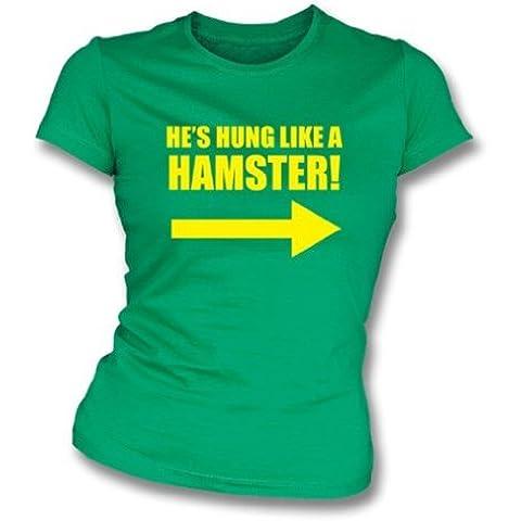 Hung Like camiseta del ajustado de una muchacha del hámster X-Grande, color Kelly Green