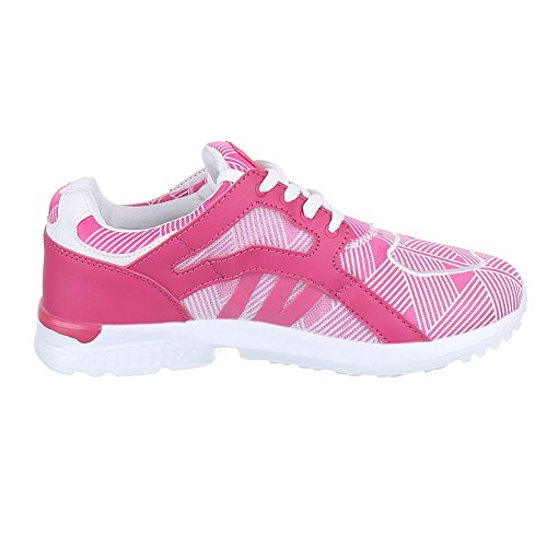 Chaussures pour femme, 523, Chaussures casual Sneakers formateurs Rose - Rose