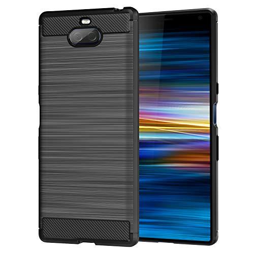 MoKo Compatible avec Sony Xperia 10 Plus Coque 6.5 Pouces 2019, en Prémium Fibre de Carbone Ultra-Léger, Caoutchouc TPU Souple Anti-Chocs pour Sony Xperia 10 Plus - Noir