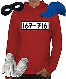 Kostüm Set für Panzerknacker Fans Karneval JGA Damen Hoodie+Cap+Handschuhe+Maske, Größe: XL,Rot