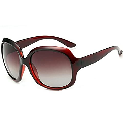 OYMI Oversized Women's Polarised Sunglasses Fashion Eyewear UV400 (Wine Red)