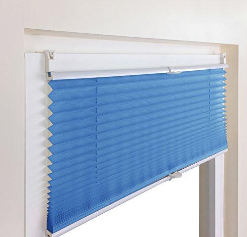 Plissee Faltrollo Rollo Jalousie Faltstore von Mass-Gardinen-Shop Sichtschutz Klemmfix ohne Bohren mit Klemmträger 65cm x 130cm (Blau) - 6