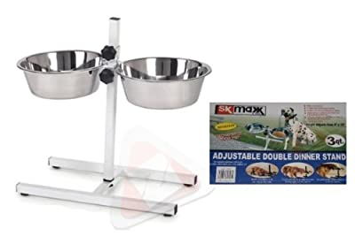 New blackFabulous Adjustable Double Dinner Feeder Stand Rack With Twin Stainless Steel Bowls by Zonnix UK from SKMLTD