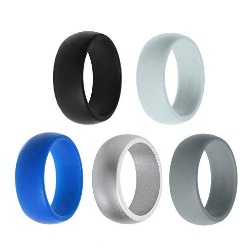 Boolavard Silikon Ehering für Männer und Frauen Preiswerte Silikon Gummiband, 7 Pack, 5 Pack & Singles - Weiß, Grau, Silber, Blau (Schwarz, Weiß, Blau, Grau, Silber, 10-19.80mm)