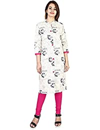 Vaidiki New White Floral Printed Designer Straight Kurti For Women's