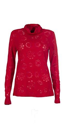 Coline - Tee shirt manches longues effet dévoré Rouge