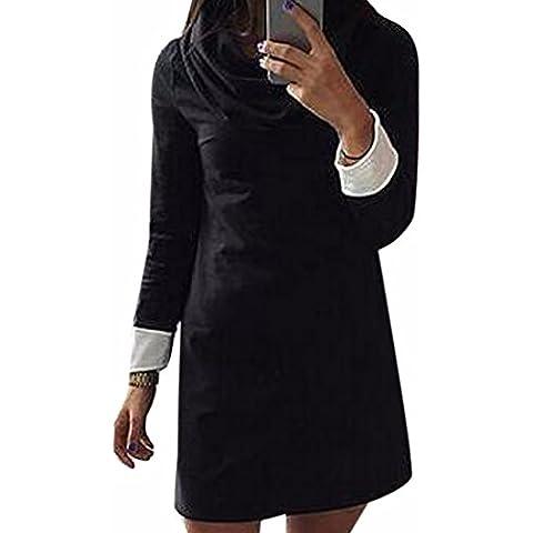Moda delgado cuello alto de costura Volver vestidos de las mujeres del vestido de algodon color