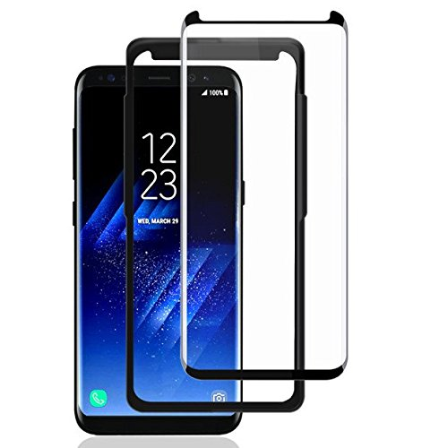 Samsung Galaxy S8 Plus Protector de Pantalla, AceTend s8 Plus Cristal Templado [Caso amistoso] Marco Fijo Cobertura Completa HD Claro, Anti-Burbuja, Anti-Scratch , Fácil Instalación-3D Curvado Protector de Pantalla de Vidrio Templado Para Samsung Galaxy S8 Plus