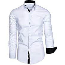 023729c4afce4 BaZhaHei Hombre Camisa Manga Larga Slim Fit S-2XL Camiseta de Manga Larga  con Panel