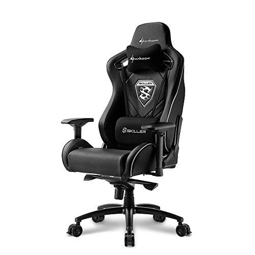 Sharkoon Skiller SGS4 Komfortabler Gaming-Stuhl (mit extragroßer Sitzfläche, 150kg belastbar, Kunstleder, Aluminiumfußkreuz, 75mm Rollen mit Bremsfunktion, 4-Wege-Armlehnen, Stahlrahmen) schwarz