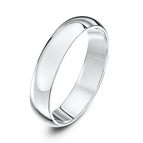 Theia Unisex Super Heavy Weight 4 mm D Shape 9 ct White Gold Wedding Ring - M