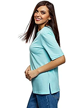 oodji Ultra Mujer Camiseta Holgada con Cuello Redondo Sin Etiqueta