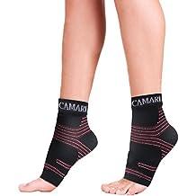 Fascie plantari sportive Camari Gear (1 paio) – Maniche per il sostegno del piede per uomo e donna - Sostegno per l'arco del tallone - Calzino per la caviglia per alleviare il gonfiore, sfregamento e dolore ai talloni, tendine di Achille (medium)
