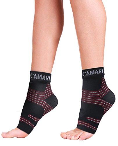 Camari Gear Sports Fußgelenk Bandage Kompressionsstrümpfe (PAAR) - Fersensporn Bandage für Schmerzlinderung bei Plantarfasziitis, Knöchelschmerzen und Schwellungen - Kompressionssocken für Männer & Frauen.
