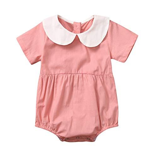 Big, Kinder, Mädchen, Rosa Trikot (iHAZA Baby kurz ÄrmelnEinfarbigPuppe Halsband StramplerOnesies)
