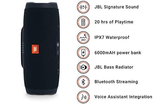 JBL Charge 3 Cassa Acustica Portatile Waterproof con Bluetooth, Nero - 2