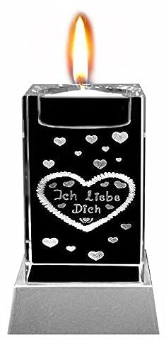 Kaltner Präsente Stimmungslicht - Das perfekte Geschenk: LED Kerze / Kristall Glasblock / 3D-Laser-Gravur Teelichthalter Herzen ICH LIEBE (Gute Freundin Geschenke)