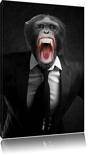 Dark brüllender Affe im Anzug schwarz/weiß Format: 120x80auf Leinwand, XXL riesige Bilder fertig gerahmt mit Keilrahmen, Kunstdruck auf Wandbild mit Rahmen, günstiger als Gemälde oder Ölbild, kein Poster oder Plakat