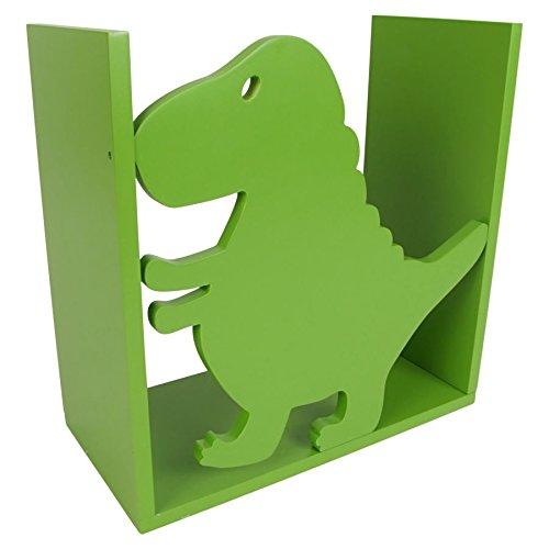 Holz Kinderregal - Motiv Dino - Kinderzimmer Wandregal zum Verstauen von Spielzeug und Büchern - Kindermöbel Bücherregal
