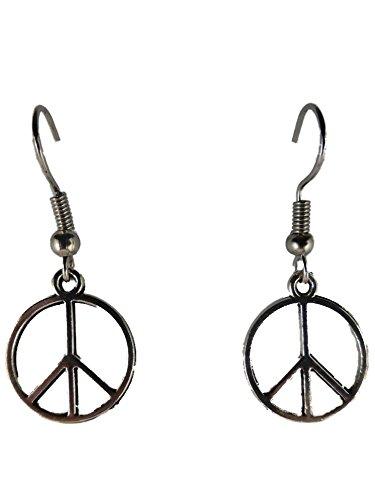 Ohrringe Ohrhänger Hänger silberfarben Peace Friede Zeichen Hippie 8951