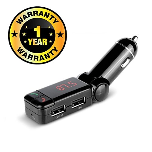 Rhobos Car Stereo Speaker Handsfree Speaker Phone FM Transmitter Music Play from USB Disk TF Card Reader Compatible with Xiaomi, Lenovo, Apple, Samsung, Sony, Oppo, Gionee, Vivo Smartphones (One Year Warranty)