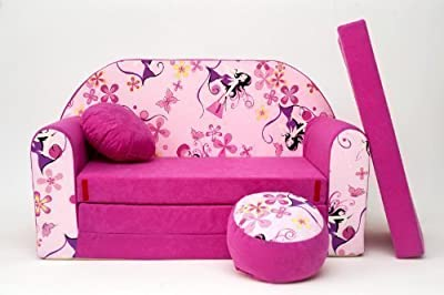 Kids Sofa Bed Futon Childs Furniture+free Pouffe/footstool&pillow (h10)