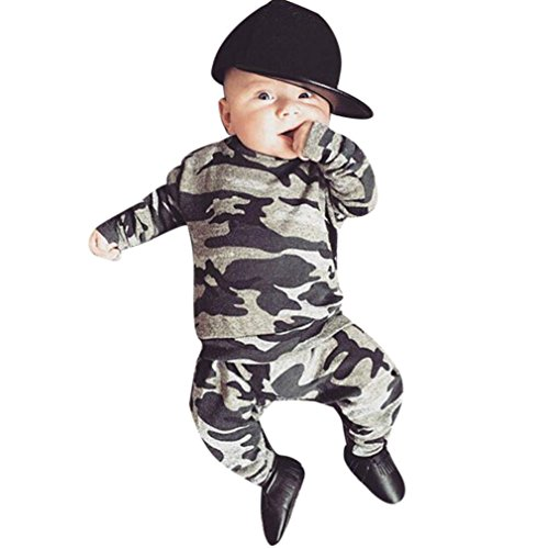 Baby Jungen Outfits Kleider Tarnung T-Shirt Tops + Lange Hosen Set_Hirolan (70, (Jungs Für Outfits White Party)
