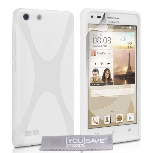 Yousave Accessories® Huawei Ascend G6 Hülle X-Linie Silikon Gel Schutzhülle weiß