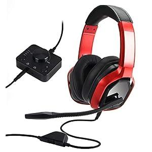 AmazonBasics– Premium-Gaming-Headset für PC und Konsolen (Xbox, PS4), mit Audiomixer, rot