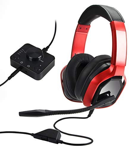 AmazonBasics Casque de gaming haut de gamme avec boîtier de commande pour PC et consoles (Xbox, PS4) - Rouge