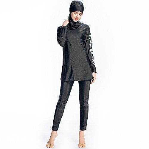 Mr Lin123 Bañador musulmán islámico para mujer, bañador de cobertura completa, bañador musulmán, playa, traje de baño burkini, Black-floral, Large