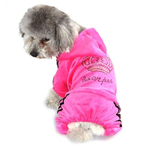 zunea Krone Kleine Hunde Samt Jumpsuit Schlafanzüge Weiche Pet Puppy Hoodie Trainingsanzug Mantel Kleidung Apparel (Schlafanzug Hund Kleidung Thermische)