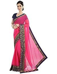Sainath Women's Georgette Fabric Saree with Blouse Piece,Free Size,(306 Gajri,Rani Colour)