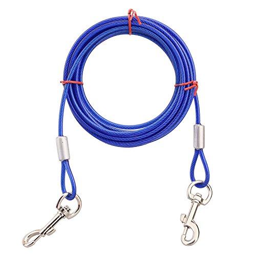 Edelstahl PET DOG TIE Out Kabel–Double Head Hund Leine Camping Outdoor Anlegeleine für mittlere Große Pet Hunde (Großen Hund Tie-out-kabel)