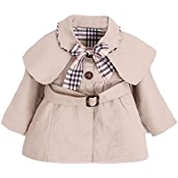 Arrowhunt Baby Girl's Princess Bowknot Cotton Trench Coat with Belt