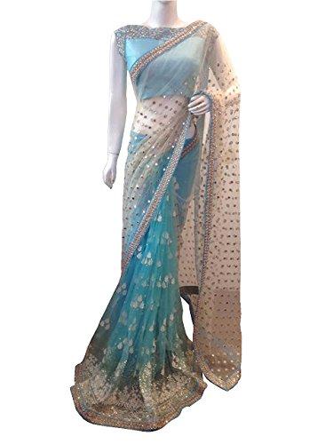 Isha Enterprise Women\'s Nylon Mono Net Sky Blue Multi Work Designer Saree